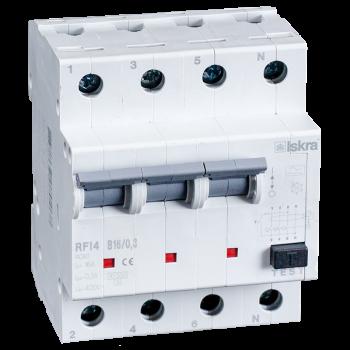 Iskra Aardlekautomaat 3F+N 16A 100mA B Type A 10kA