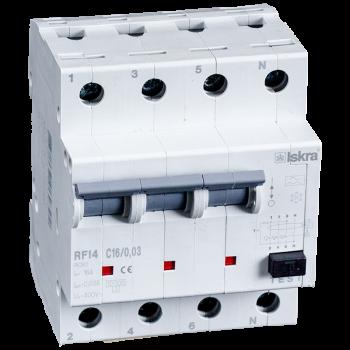 Iskra Aardlekautomaat 3F+N 16A 30mA C Type A 10kA