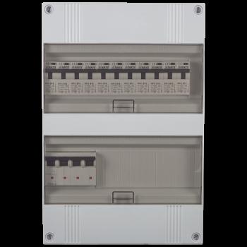 3 Fase groepenkast 330x220 (HxB) met 11 lichtgroepen in aardlekautomaat uitgevoerd