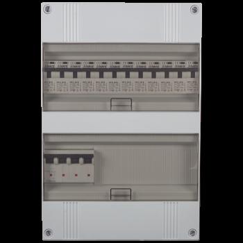 3 Fase groepenkast 330x220 (HxB) met 12 lichtgroepen in aardlekautomaat uitgevoerd