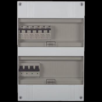 3 Fase groepenkast 330x220 (HxB) met 6 lichtgroepen in aardlekautomaat uitgevoerd