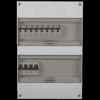 3 Fase groepenkast 330x220 (HxB) met 8 lichtgroepen in aardlekautomaat uitgevoerd