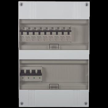 3 Fase groepenkast 330x220 (HxB) met 9 lichtgroepen in aardlekautomaat uitgevoerd