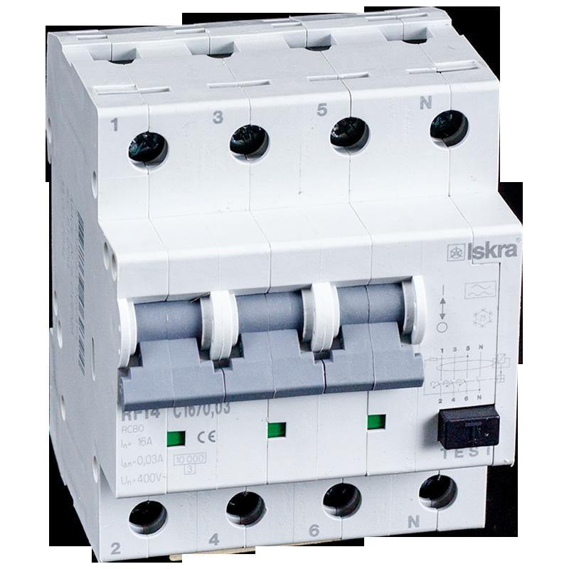 aardlekautomaat 3+N 16A 30mA C Type A 10kA uit