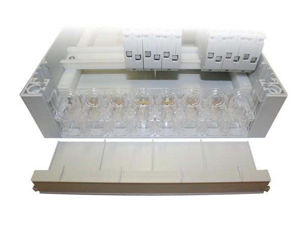 1 fase groepenkast 5 groepen aardlekautomaten 12 modulen met buisinvoer IP40 aanzicht buisinvoer