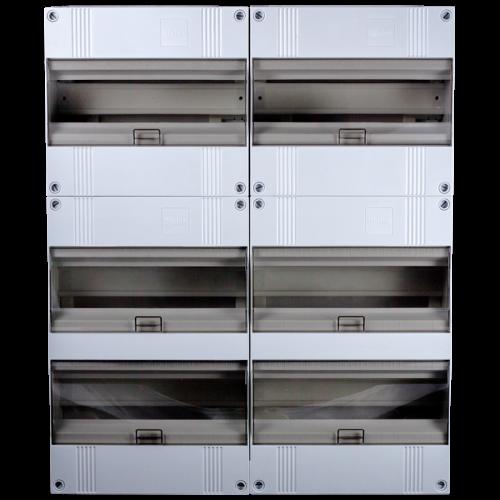 2x24 met 2x12 modulen groepenkast combinatie 72 modulen modulair met buisinvoer