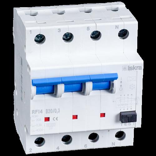 aardlekautomaat 3+N 20A 30mA B Type A 10kA