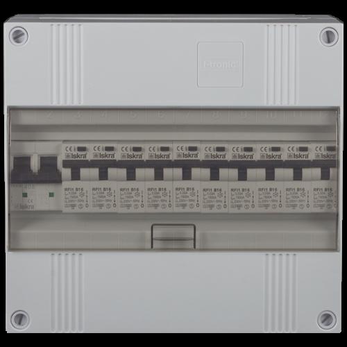 Groepenkast 1 fase 10 aardlekautomaten 12M buisinvoer 220x205x105