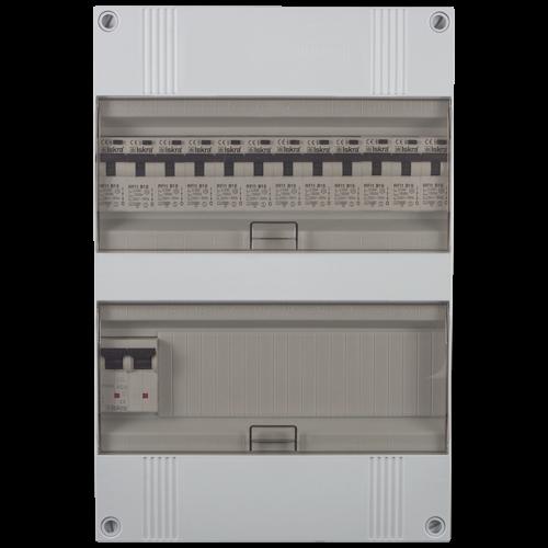 Groepenkast 1 fase 12 aardlekautomaten 24M buisinvoer 220x330x105