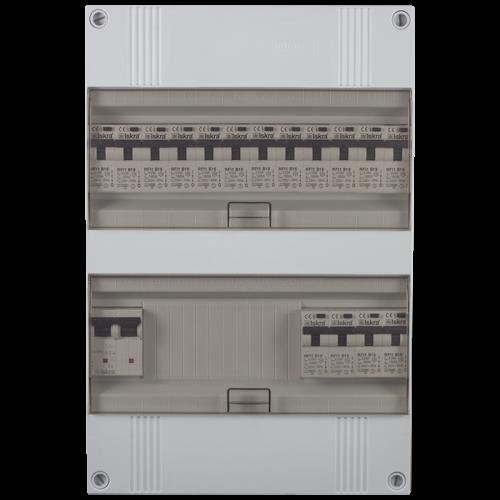 Groepenkast 1 fase 16 aardlekautomaten 24M buisinvoer 220x330x105