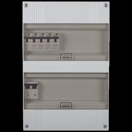 Groepenkast 1 fase 5 aardlekautomaten 24M buisinvoer 220x330x105