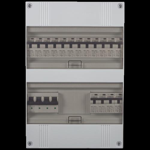 Groepenkast 3 fase 16 aardlekautomaten 24M buisinvoer 220x330x105
